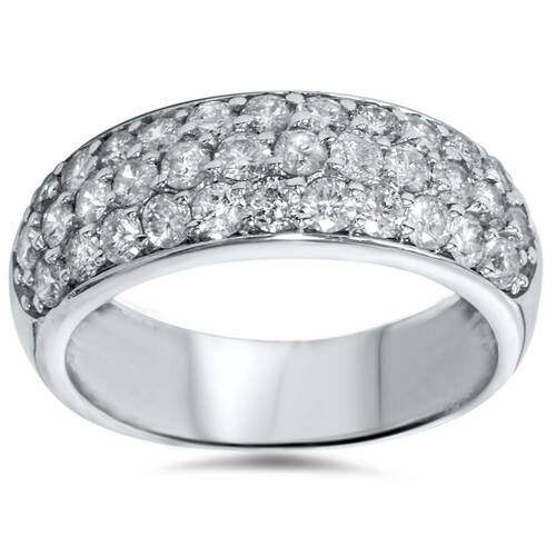 1 1/2ct Pave Diamond Wedding Anniversary 14K New Ring (G/H, I1)