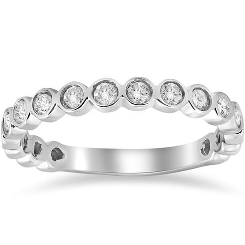 1/2ct Bezel Stackable Diamond Ring 14K White Gold (G/H, I1)