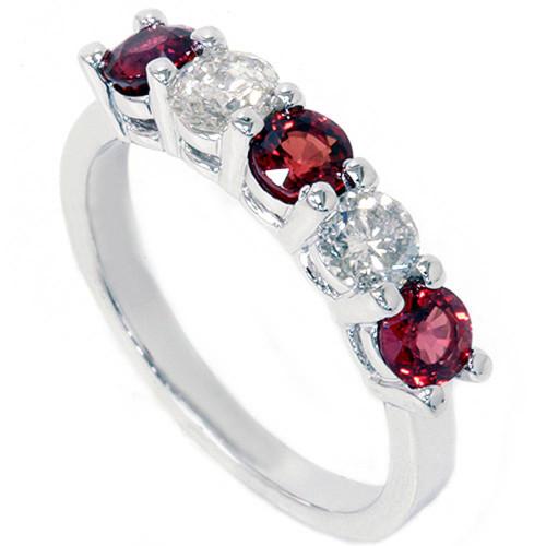1 1/2ct Red Sapphire & Diamond Wedding Ring 14K White Gold (G/H, I1-I2)