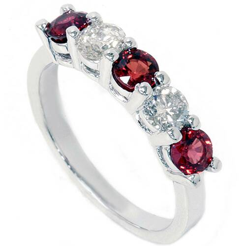 1 1/2ct Red Sapphire & Diamond Wedding Ring 14K White Gold (G/H, I1-I2)