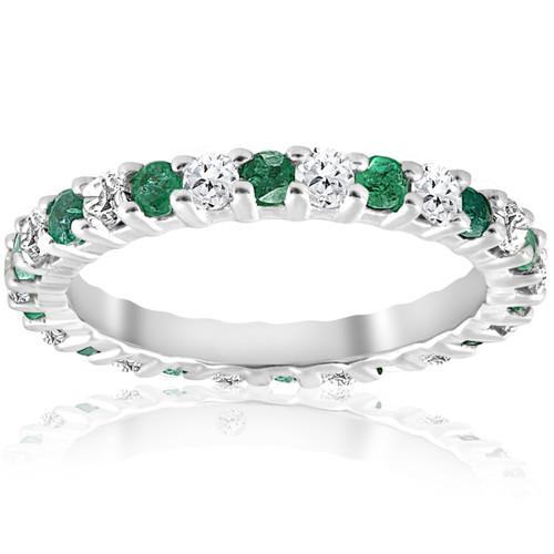 1 1/2ct Emerald Diamond Eternity Ring 14K White Gold (G/H, I1-I2)