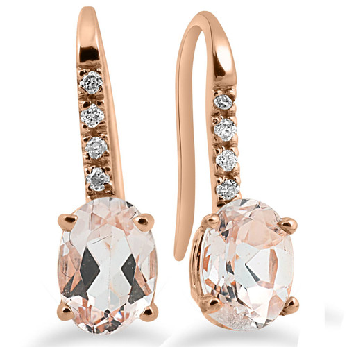 "1 1/5Ct Morganite & Diamond Drop Earrings 14K Rose Gold 3/4"" Tall (I-J, I2-I3)"