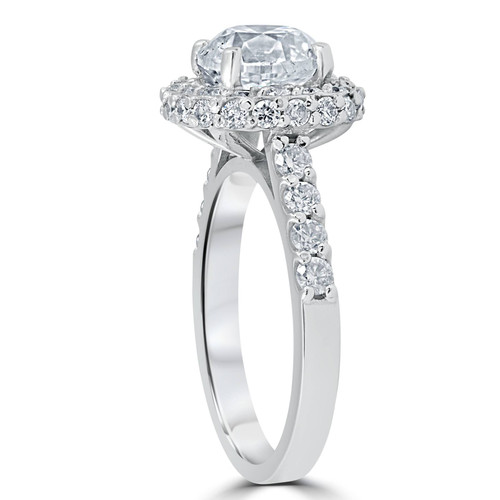 3 5/8ct Round Diamond Double Halo Engagement Ring 14K White Gold (H/I, I1-I2)
