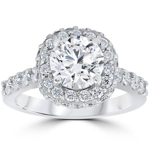 3 5/8ct Round Diamond Double Halo Engagement Ring 14K White Gold (H/I, I1-I2)