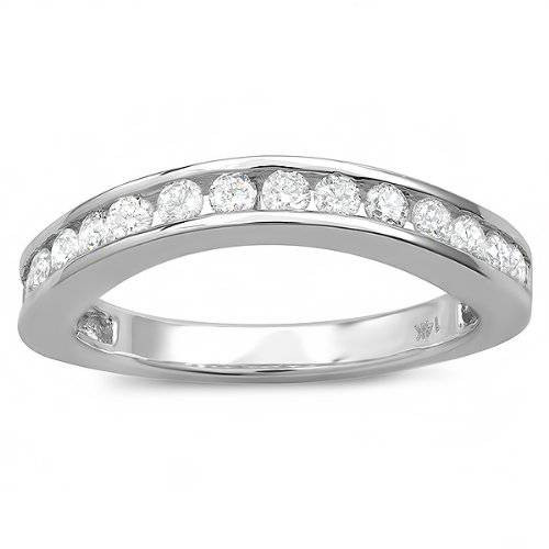 1 1/20ct Curved Diamond Wedding Ring Enhancer 14K White Gold (I/J, I1-I2)