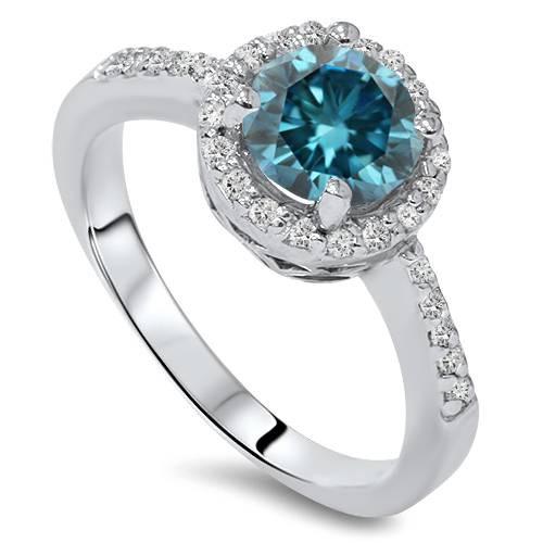 1 3/4ct Blue & White Diamond Halo Engagement Ring 14K White Gold (G/H, I1-I2)