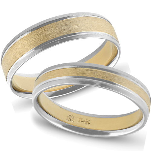 Gold Matching Two Tone His Hers Wedding 14K Ring Set