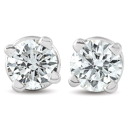 1/4 Ct Diamond Screw Back Studs 14k White Gold Lab Grown Eco Friendly (((G-H)), SI(1)-SI(2))