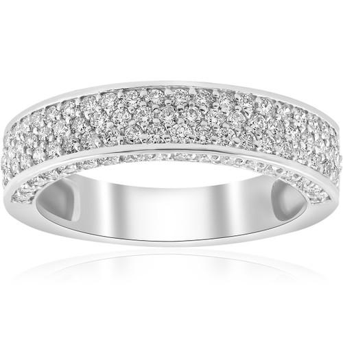1 ct Diamond Wedding Ring 14k White Gold Womens Anniversary Band (H-I, I1)