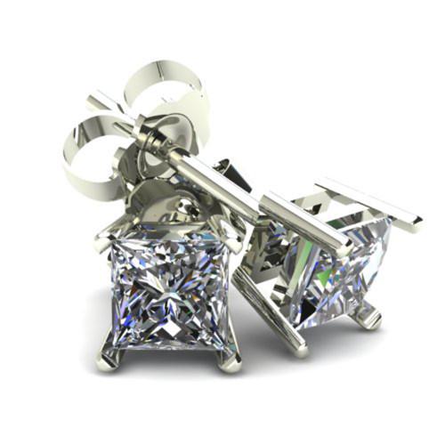 1.00Ct Princess Cut Diamond Studs 14K White Or Yellow Gold Basket Setting (G/H, SI2-I1)