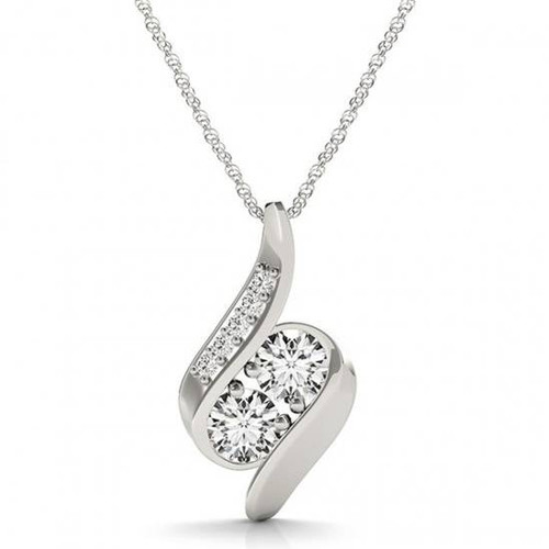 """1ct Forever Us Two Stone Natural Diamond Pendant Necklace 18"""" 10K White Gold (H-I, I1)"""