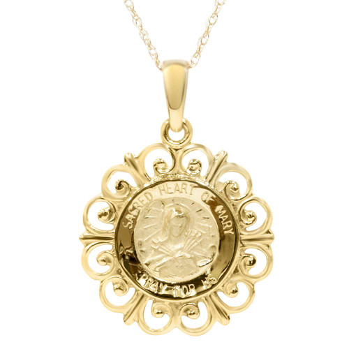 """14 Karat Yellow Gold Miraculous Mary Religious Pendant Necklace 1"""" Tall"""