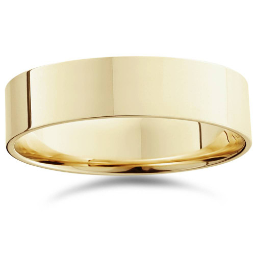 Mens 14K Yellow Gold Comfort Fit Plain Wedding Band