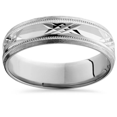 Mens 14K White Gold Swiss Cut Wedding Band Ring New
