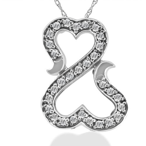 "1/4ct ""Amore"" Diamond Heart Pendant 10K White Gold (J-K, I1-I2)"