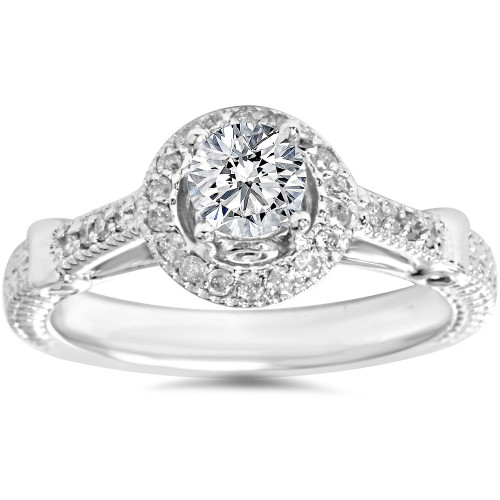 1/2ct Diamond Vintage Halo Engagement Ring 14K White Gold (G/H, I1-I2)