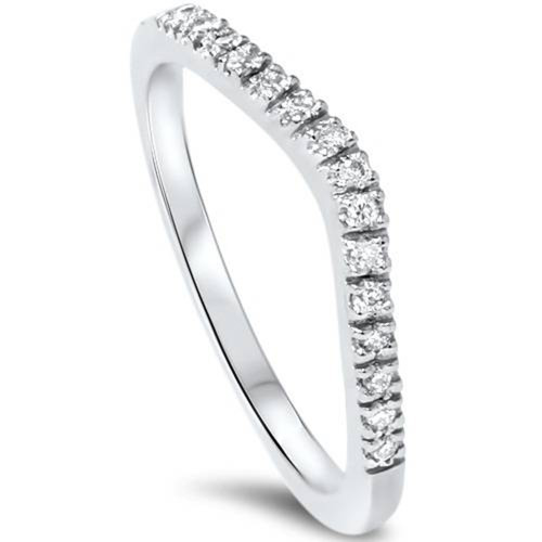 1/8ct Curved Diamond Wedding Ring 950 Platinum (G/H, SI1-SI2)