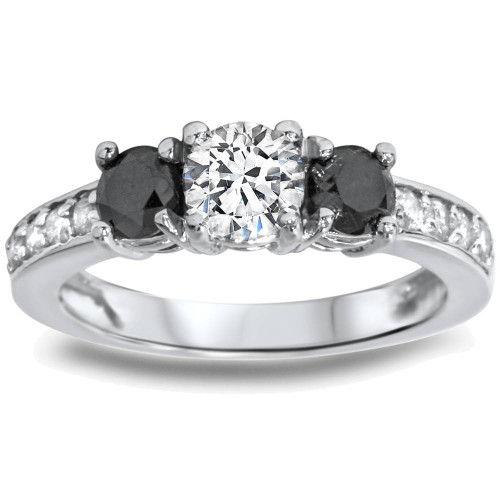 1ct Black & White Diamond 3 Stone Ring 14K White Gold (G/H, I1-I2)