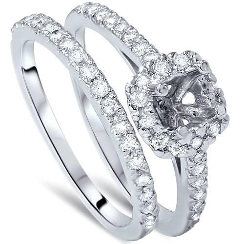 3/4ct Cushion Halo Engagement Ring Setting & Band 14K White Gold (G/H, I1)