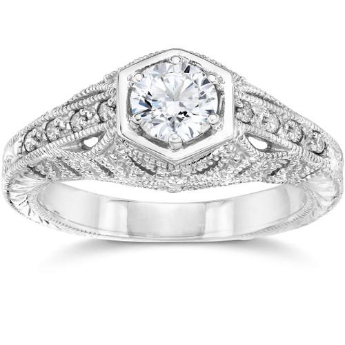 Emery .70Ct Vintage Diamond Genuine Engagement 14K White Gold (H/I, I1)