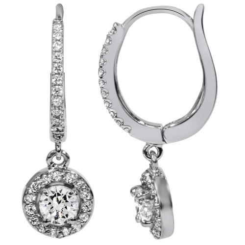 "5/8ct Pave Diamond Hoop Dangle Lever Back Earrings 18K White Gold 1"" Tall (F-G, SI)"
