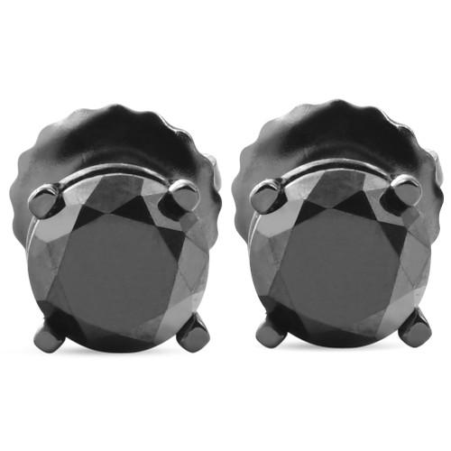 1 TCW 14k Black Gold Round Black Diamond Screw Back Studs Earrings (Black, AAA)