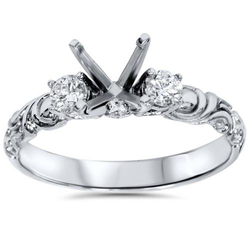 1/4ct Vintage Style Engagement Ring Setting 14K White Gold (H/I, SI2-I1)