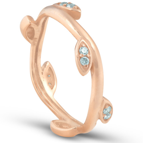 1/8CT Diamond Vine Leaf Ring 14K Rose Gold (H/I, I1-I2)