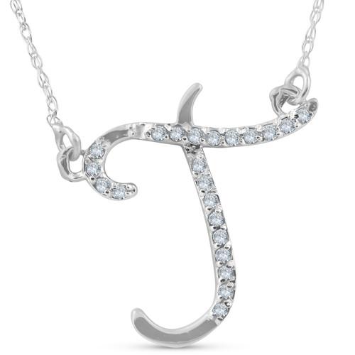 "1/4ct Diamond ""T"" Initial Pendant 18"" Necklace 14K White Gold (G/H, I2)"