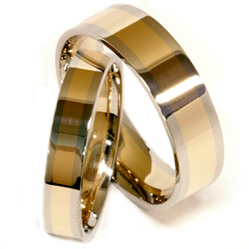 Gold Two Tone Plain Comfort Wedding Band His Hers Set
