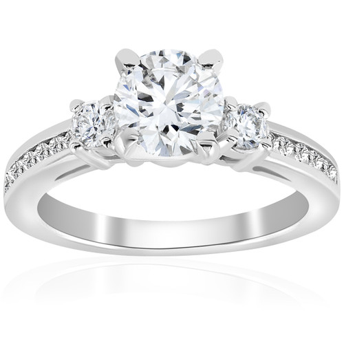 1 ct Diamond Engagement Ring 3-Stone 14K White Gold (G/H, I1)