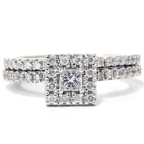 5/8ct Princess Cut Diamond Engagement Wedding Ring Set 14K White Gold (G/H, I2)