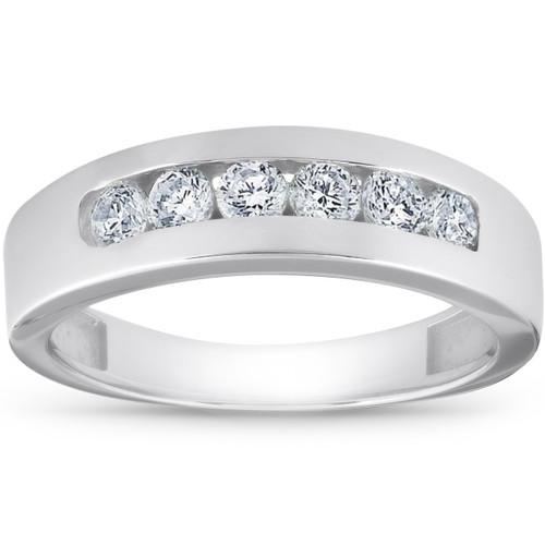 1ct Channel Set Mens Diamond Wedding Ring 14K White Gold (G/H, SI)