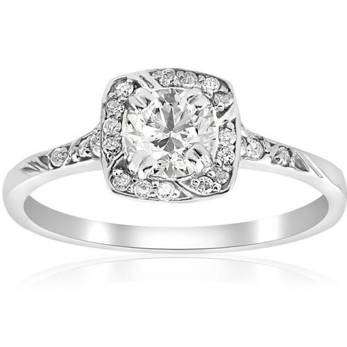 1 ct Cushion Halo Diamond Engagement Ring 14k White Gold (G/H, I1)