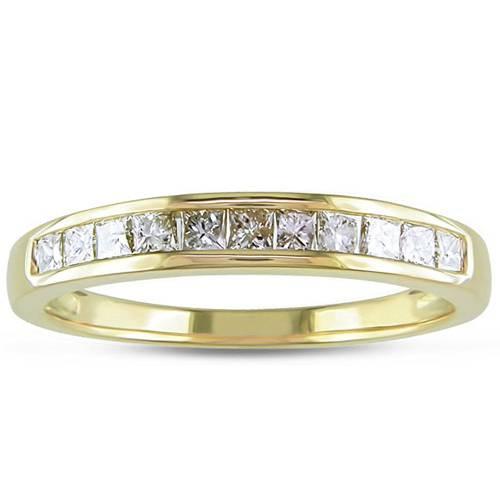 3/8ct Princess Cut Diamond Wedding Ring 14K Yellow Gold (H, I1-I2)