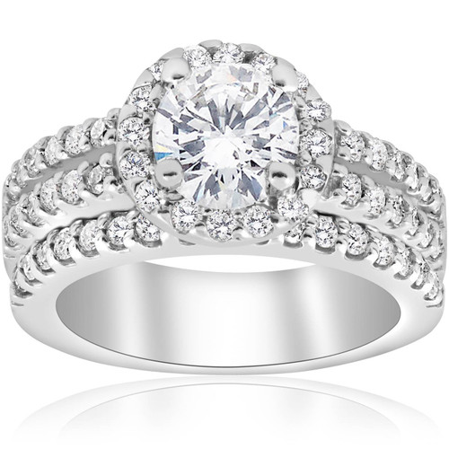 1 7/8ct Round Halo Enhanced Diamond Engagement Pave Wedding Ring 14K White Gold (G, I1)
