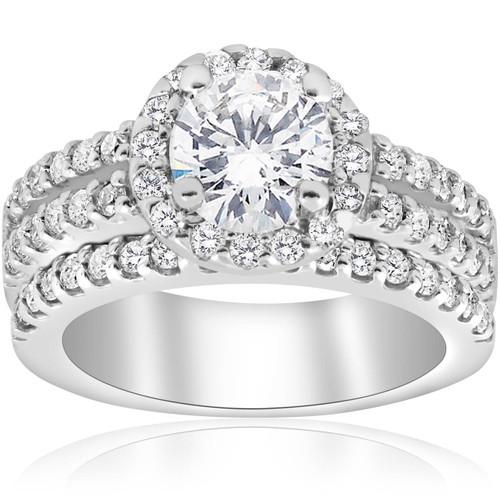 1 7/8ct Round Halo Enhanced Diamond Engagement Pave Wedding Ring 14K White Gold (G, I1)