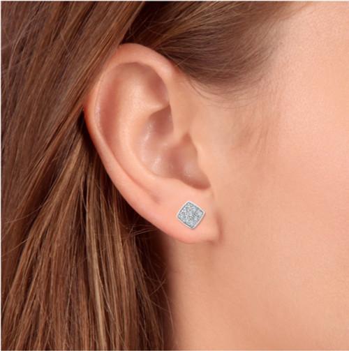 1/3ct Pave Stud Cushion Halo Diamond Cushion Shape Earrings 10K White Gold (H, I2)