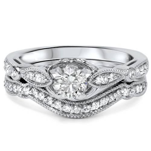 3/4ct Diamond Engagement Wedding Ring Set 14K White Gold (G/H, I1)