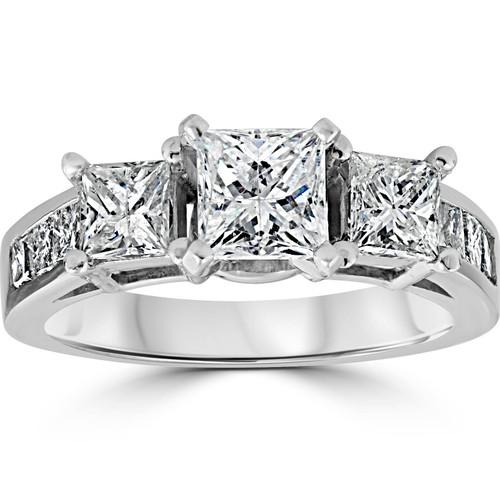 2ct Princess Cut Engagement Enhanced Diamond Ring 14K White Gold (G/H, I1-I2)