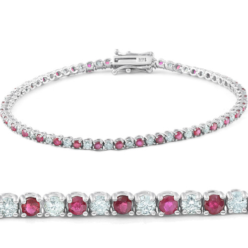 3ct Genuine Ruby & Real Diamond Tennis Bracelet 14K White Gold (G/H, I1)