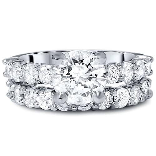 5ct Enhanced Diamond Eternity Engagement Wedding Ring Set 14K White Gold (G/H, I1-I2)