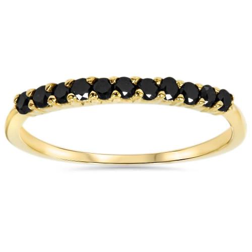 1/4ct Treated Black Diamond Wedding Anniversary Guard Ring 14K Yellow Gold (Black, AAA)