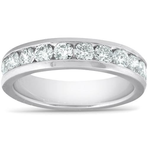 1ct Lab Grown Diamond Wedding Ring Platinum Channel Set Eco Friendly (F/G, VS/SI)
