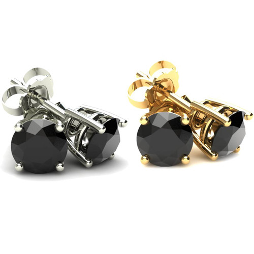 2Ct Treated Black Diamond Studs Earrings In 14K White & Yellow Gold in Basket Setting (Black, AAA)