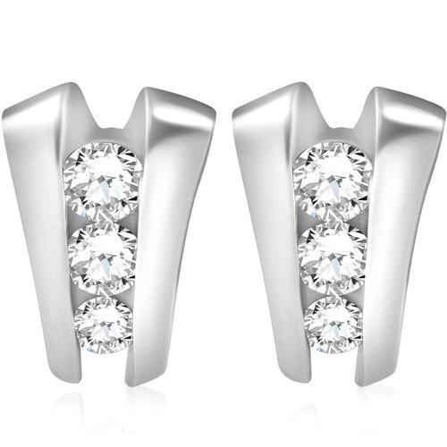 1 3/8 CT 3 Stone Diamond Earrings Studs 14K White Gold (G/H, I1)
