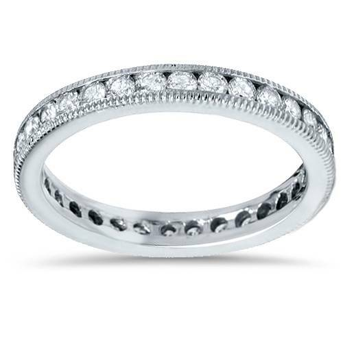 1ct Channel Set Diamond Eternity Ring 14K White Gold (G/H, SI)