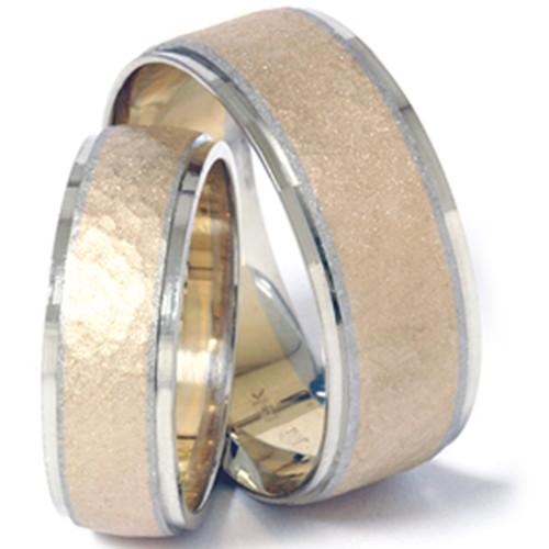 14K Gold Matching Two Tone Hammered Wedding Band Set