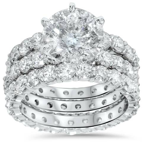 9ct Diamond Engagement Ring Eternity Guard Band Set 14k White Gold (H/I, I1-I2)