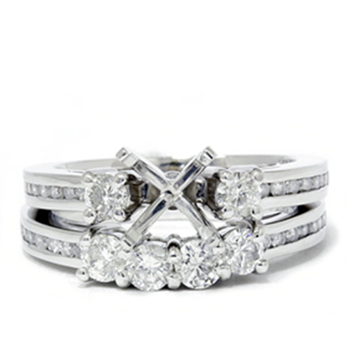 1 1/4ct Diamond Engagement Wedding Ring 14K White Gold Ring Set (G/H, I1)